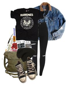 """I Nearly Lost You"" by bipolarbabe ❤ liked on Polyvore featuring Carhartt, GAS Jeans, Phase 3, Converse and Chapstick"