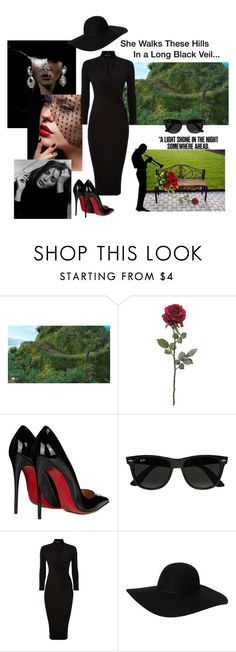 """A long black veil: mourning for my friend..."" by vittorio-1 ❤ liked on Polyvore featuring Alexis Bittar, Christian Louboutin, Ray-Ban, Darton and Monki"