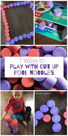 Ways to Play with Cut Up Pool Noodles - Teach Me Mommy Indoor Activities, Sensory Activities, Infant Activities, Preschool Activities, Toddler Activities For Daycare, Toddler Preschool, Montessori Baby, Toddler Play, Baby Play