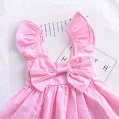 df389cb6f2b Infant Baby Fly Sleeve Bow Dress 2018 New Summer Cotton Vest Sleeveless Princess  Dress for Girl Classic Children Clothing-in Dresses from Mother   Kids on  ...