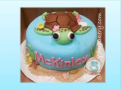 Planning on doing a sea turtle birthday cake for Aliyah's birthday.. This is cute!