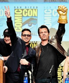 Robert Downey Jr, Jeremy Renner and Josh Brolin at the Marvel Panel at San Diego Comic Con 2014