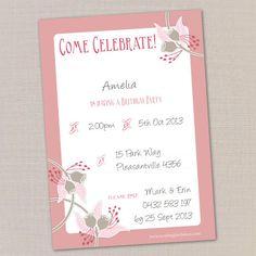 Cute and FREE! printable birthday invite from Mockingbird Street