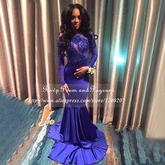 Uzun gelinlik modelleri 2017 seksi sheer aplike uzun kollu kat uzunluk streç saten afrika backless kraliyet mavi mermaid balo dress