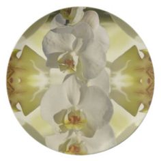 White orchid wedding dinner party plates