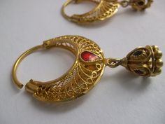 Traditional Indian 22kt Solid Gold Filigree & Enamel Hoops with Good Luck Umbrellas  by MaisonettedeMadness