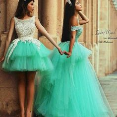 vestidos verde-água