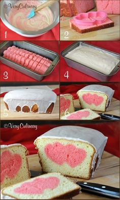 Cute Valentine's Day Pound Cake by Very Culinary. #easy