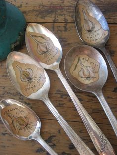Garlic  Old Silver Spoon Garden Marker by daisychestnut on Etsy, $10.00