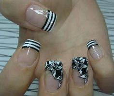 Striped french nails