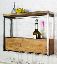 Reclaimed Wood Wine Rack & Shelf | Want to make this so bad for my dining room!