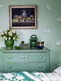 A chest of drawers hand painted by the homeowner's grandfather.