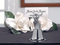 Kissing Bell Silver Bride and Groom Wedding Bell / Place Card Holder