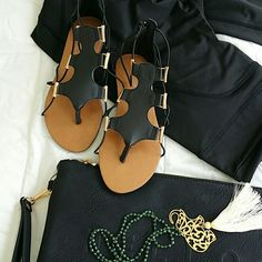 GLADIATOR BLACK SANDALS, Faux leather, with golden details, zipper goes on the back,  sole mesures 9.6 inches long and 4 inches on tje the widest part,  If you like any of the accesories shown on the picture,  they are also available in my closet. Shoes Sandals