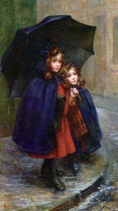 umbrellas.quenalbertini: Sisters in the rain by Martha Marie Louise Boyer-Breton   facilisimo