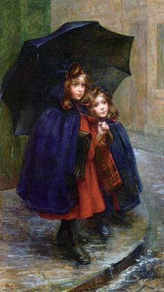 umbrellas.quenalbertini: Sisters in the rain by Martha Marie Louise Boyer-Breton | facilisimo
