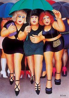 Signed Limited Edition Print Clubbing in the Rain by the artist Beryl Cook Umbrella Art, Under My Umbrella, Beryl Cook, Sculpture Textile, Pin Up, Plus Size Art, Fat Art, Fat Women, Voluptuous Women