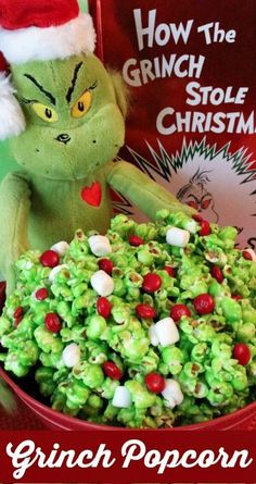 Grinch Popcorn ~ A fun Christmas Treat. Sweet, salty, crunchy, delicious and so very easy to make... It would be a great How the Grinch Stole Christmas family movie night dessert or Christmas Party Dessert!