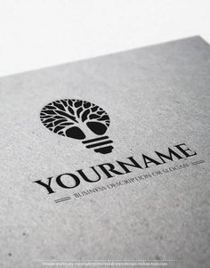 Exclusive Design: Tree of Light Logo + FREE Business Card. Ready made Illustrated Tree Logo design with Tree of Light - in the form of a lamp