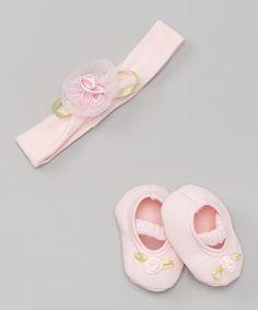 Look at this #zulilyfind! Pink Flower Headband & Crib Shoe #zulilyfinds