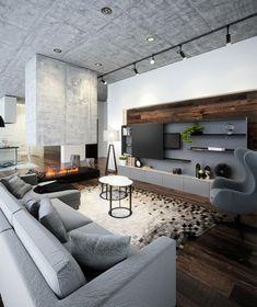 salon contemporain avec cheminée et murs en béton