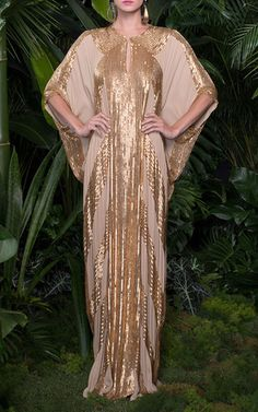 Metallic Linear Beaded Georgette Caftan by Naeem Khan for Preorder on Moda Operandi