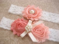Rosy Peach Bridal Garter Wedding Garter Set by nanarosedesigns