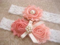 Rosy Peach Bridal Garter Wedding Garter Set by nanarosedesigns