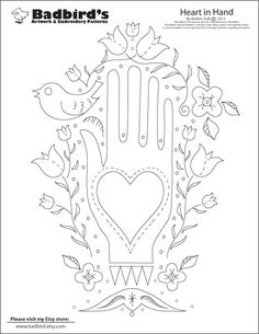 Heart-in-Hand_PAT  Badbird's is such a great site with lots of embroidery patterns that are absolutely free.