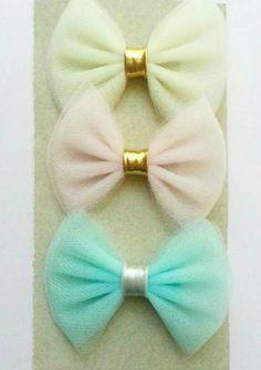 Las vendas de Jasmine tul Bow set de 3 colores Pastel