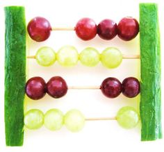 cucumber and grape abacus! Great homework helper & after-school snack in-one!