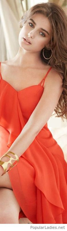 Beautiful orange dress and golden details
