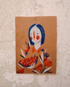 saudades do lápis de cor #illustration #watermelon #girl #nature #redlove #vscocam