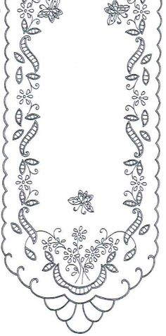 Ubrus obdélník richelieu, 90 x 34 cm ile ilgili görsel sonucu Sewing Machine Embroidery, Cutwork Embroidery, Hand Embroidery Designs, Vintage Embroidery, Cross Stitch Embroidery, Broderie Simple, Parchment Craft, Point Lace, Card Patterns