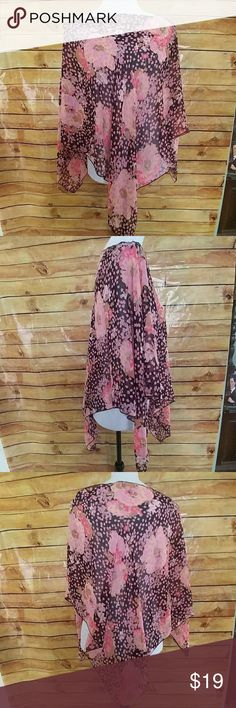 Sheer black & pink floral cover-up/poncho Gorgeous sheer black & pink floral cover-up/poncho. As perfect over a bathing suit as it is over a tank top and capri pants!  PLEASE NOTE:  all tags were removed  In very good used condition Swim Coverups