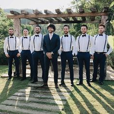 Discover recipes, home ideas, style inspiration and other ideas to try. Groomsmen Attire Suspenders, Rustic Groomsmen Attire, Casual Groom Attire, Groomsmen Grey, Bridesmaids And Groomsmen, Rustic Wedding Groomsmen, Bridesmaid Dresses, Wedding Dresses, Wedding Suits
