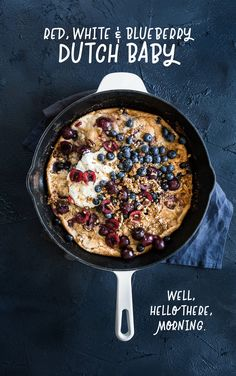 Red, White and Blueberry Granola Dutch Baby — Cheeky Kitchen Lunch Recipes, Crockpot Recipes, Soup Recipes, Breakfast Recipes, Vegetarian Recipes, Chicken Recipes, Dinner Recipes, Dessert Recipes, Dark Food Photography