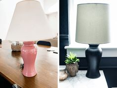 Spray Paint Lamps, Painting Lamps, Textured Spray Paint, Black Spray Paint, Blogger Home, Paint Brass, Lamp Makeover, Thrift Store Crafts, Old Lamps