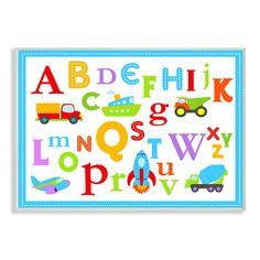 Stupell Rainbow Alphabet Transportation Icons Wall Plaque Art