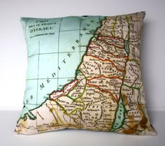 Cushion cover maps ISRAEL Organic cotton pillow cover, 16 inch, 41cm map pillow, map cushion, decorative pillow via Etsy