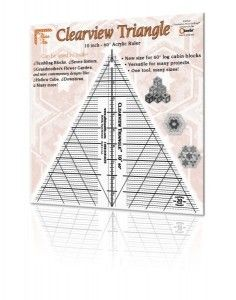 60 Degree Clearview Triangle Ruler 10 inch.  This ruler helps make a great table runner out of those beautiful border prints you have been stashing or eyeing at the local quilt shop.