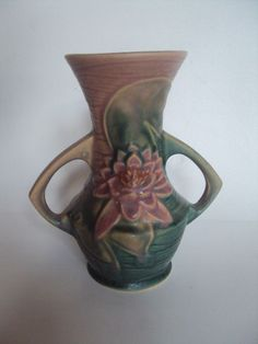 Vintage Original Roseville Pottery Water Lily Vase  Approx.6 inches tall.