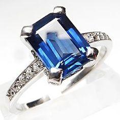 ESTATE EMERALD CUT NATURAL BLUE SAPPHIRE & DIAMOND ENGAGEMENT RING SOLID PLATINUM    $3,299.00