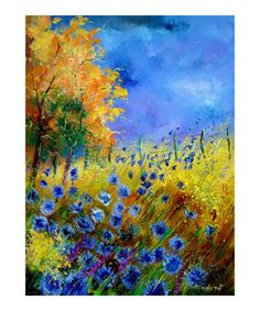 """I like this print from an """"emerging artist"""": Blue wild flowers with an orange tree Giclee Print by Pol Ledent"""