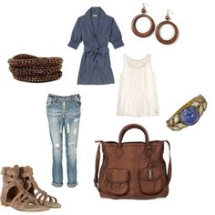Rustic touches, created by naomis33  Shoes are my fav. Cute relaxed day-time look.