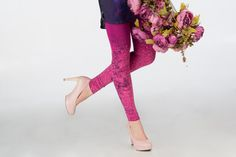 Forest rose  purple leggings with violet flower by ZIBtextile, $45.00