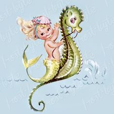 Girls room Mermaid on a seahorse wall decor - art artwork picture diy unique Vintage Cards, Vintage Images, Mermaid Fairy, Mermaid Room, Baby Mermaid, Mermaid Illustration, Mermaids And Mermen, Images Of Mermaids, Pretty Mermaids