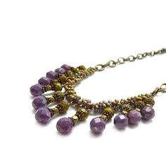 Purple Statement Necklace Seed Bead by RockStoneTreasures on Etsy