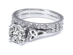 Celtic Knot Engagement Ring with Diamond Accents & Matching Wedding Band in White Gold - ES643BRBS