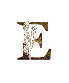 Monogram E Gold Flowers And Foliage by floralmonogram E Letter Design, Letter E Art, Alphabet Design, Alphabet Art, Lettering Design, Branding Design, Stylish Alphabets, Wedding Invitation Video, Autumn Art